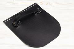 Клапан для сумочки с ручкой кожаный черный