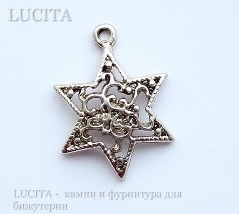 "Подвеска ""Звезда"" (цвет - античное серебро) 24х18 мм"