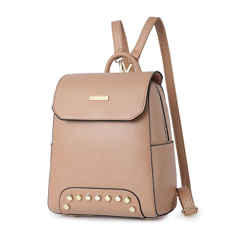 Женский средний рюкзак 22х25х12 см бежевый 2576-4
