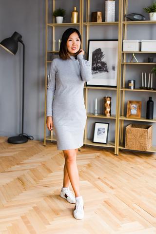 Платье-водолазка с секретом для кормления Серый меланж