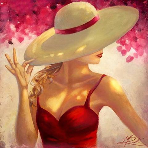 Картина раскраска по номерам 30x40 Дама в красном платье и ...
