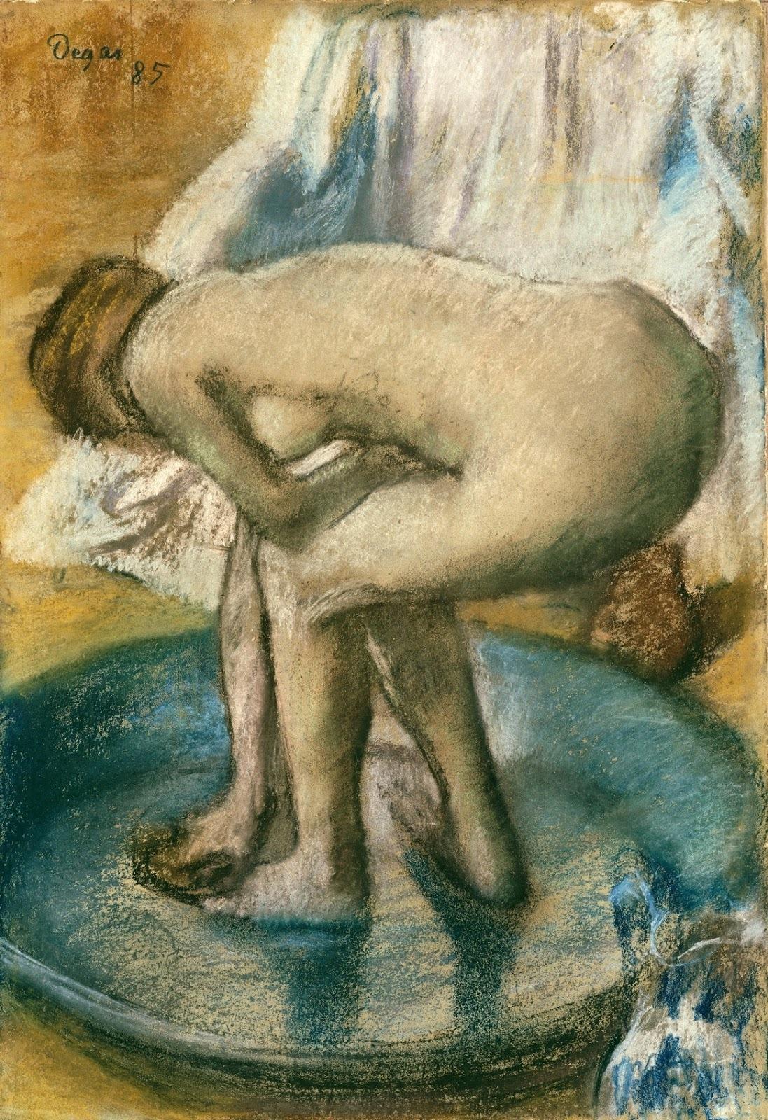 Эдгар Дега. 1885. Женщина, купающаяся в тазу (Woman Bathing in a Shallow Tub). 81.3 х 56.2. Бумага, смешанная техника. Нью-Йорк, Метрополитен.