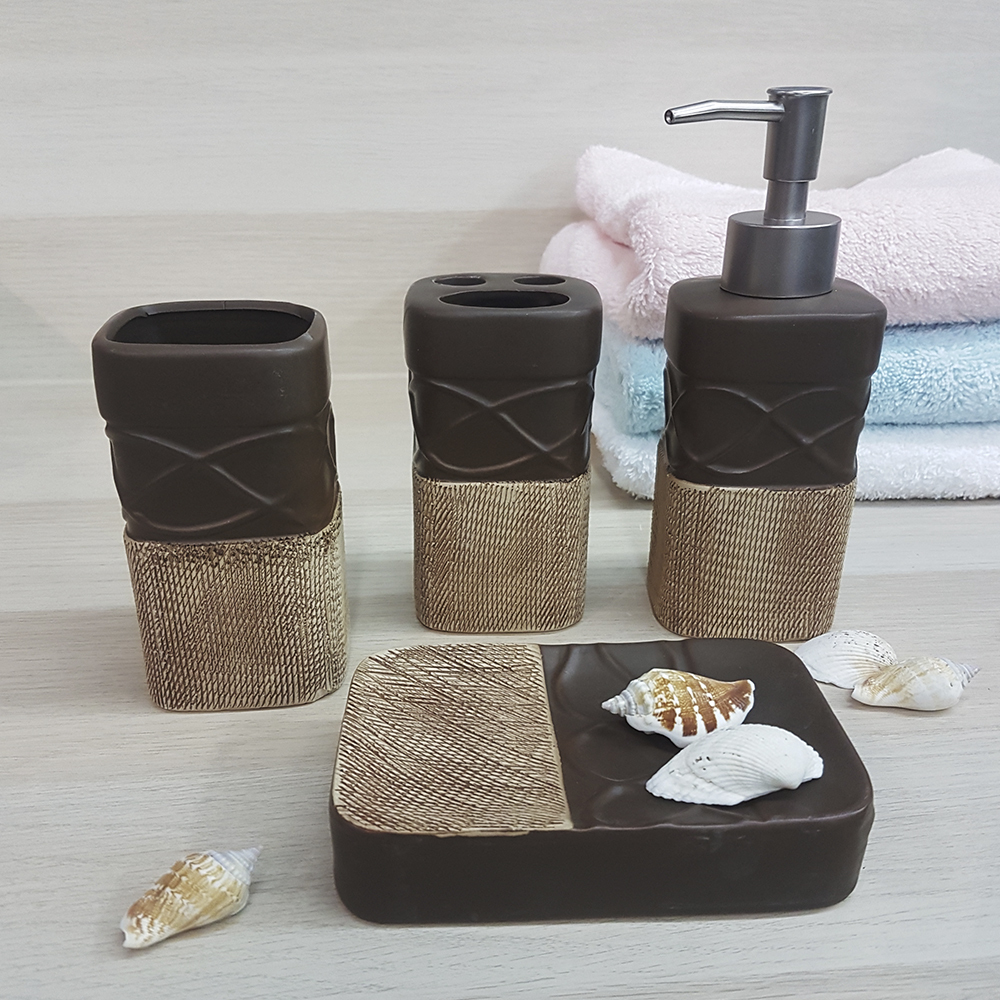 Ванный набор, керамика, кремовый.