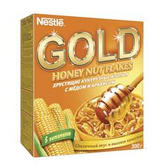 Завтрак Хлопья кукурузные Nestle Gold с медом и арахисом 300г