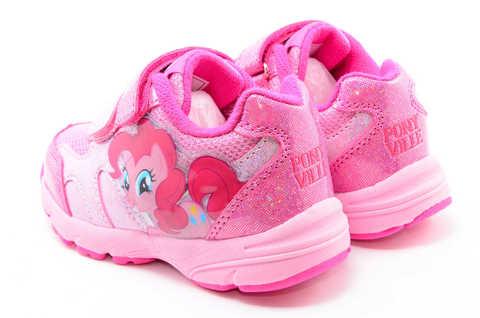 Светящиеся кроссовки для девочек Пони (My Little Pony) на липучках, цвет розовый, мигает картинка сбоку. Изображение 7 из 12.