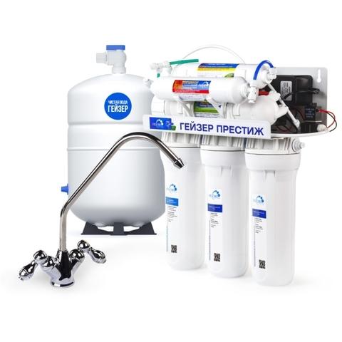 Фильтр с системой обратного осмоса Гейзер Престиж-ПМ с помпой и минерализатором