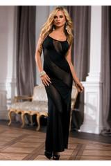 Длинное платье с диагональными прозрачными полосами