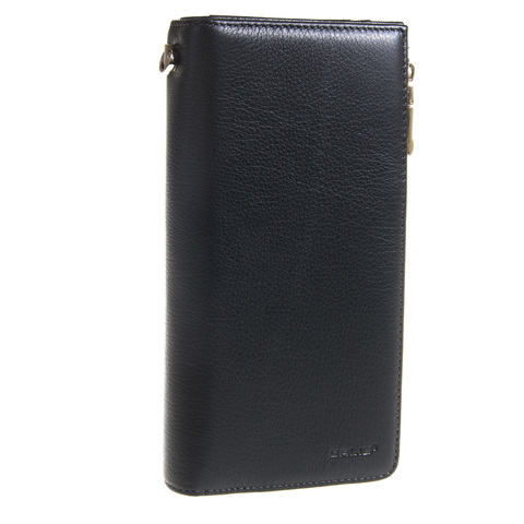 Мужской чёрный клатч портмоне из натуральной кожи GALIB 7M247