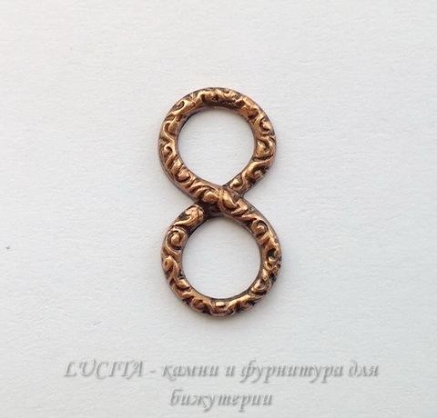 Винтажный декоративный элемент - коннектор Восьмерка 20х10 мм (оксид меди) (WP_20140606_13_57_50_Pro)