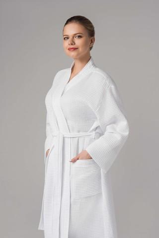 Халат-кимоно вафельный  (Хлопок, белый, 50-52, 1 шт/упк)