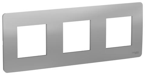 Рамка на 3 поста. Цвет Алюминий. Schneider Electric Unica Studio. NU200630