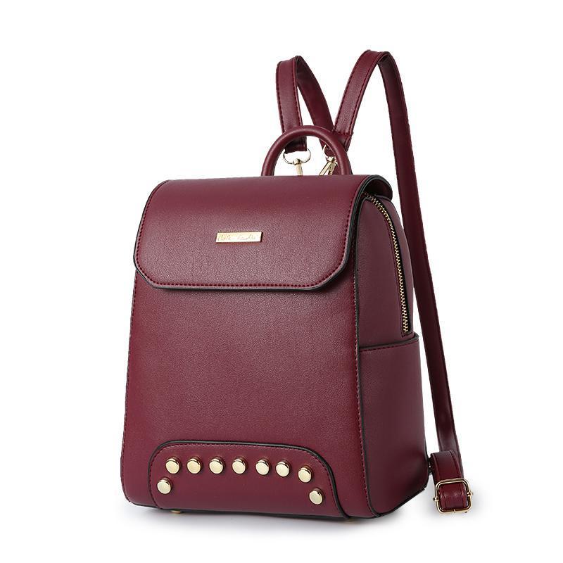 Женский средний рюкзак 22х25х12 см бордовый 2576-5