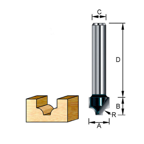 Фреза пазовая фасонная классическая 19,05х32х11,11х8х3,18 мм; R=3,18 мм