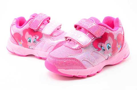 Светящиеся кроссовки для девочек Пони (My Little Pony) на липучках, цвет розовый, мигает картинка сбоку. Изображение 9 из 12.