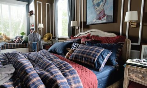 Постельное белье 2 спальное евро макси Casual Avenue Oxford Navy Tartan темно-синее