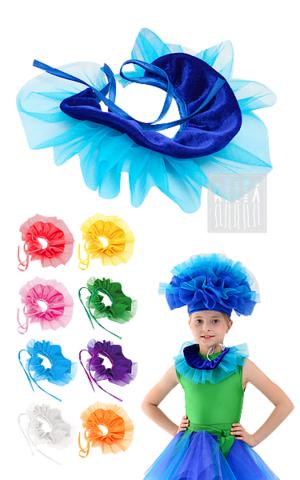 Фото Цветочный аксессуар рисунок Купить головной убор Василька. Шапка Василек  создан из сетки с напылением и органзы.