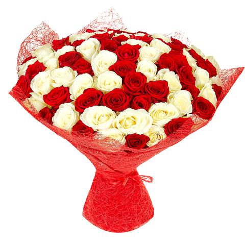 Букет микс из 51 розы (70 см)