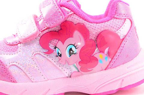 Светящиеся кроссовки для девочек Пони (My Little Pony) на липучках, цвет розовый, мигает картинка сбоку. Изображение 10 из 12.