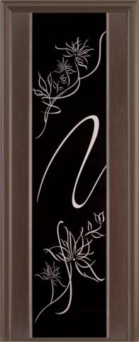 Дверь Луидор Альмека, триплекс чёрный с художественным матированием и стразами Swarowski, цвет чёрный дуб тонированный, остекленная