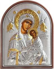 Страстная икона Божьей Матери. Маленькая икона в серебряном окладе.