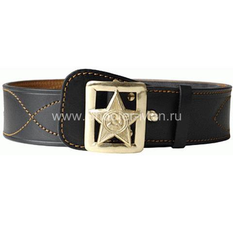 Ремень кожаный генеральский со звездой с лучами