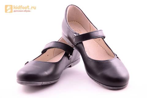Туфли для девочек из натуральной кожи на липучке Лель (LEL), цвет черный. Изображение 9 из 18.