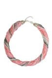 Бисерное ожерелье из 48 нитей серо-розовое