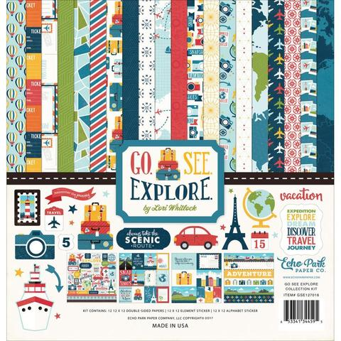 Кит - набор бумаги и украшений Go, See, Explore Echo Park Collection Kit 30х30см