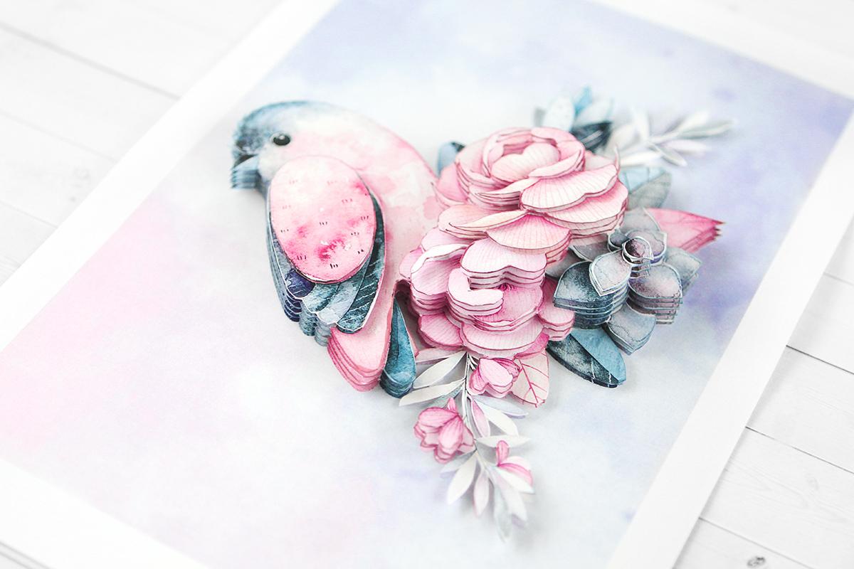 Папертоль Птичка счастья - готовая работа, вид сбоку
