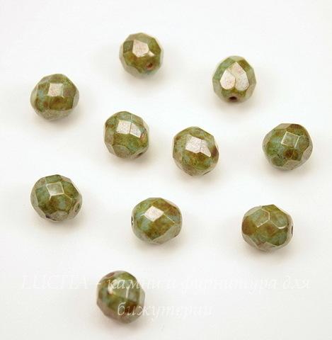 Бусина с огранкой (цвет - оливковый с бежевым) 8х7 мм , 10 штук