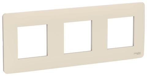 Рамка на 3 поста. Цвет Бежевый. Schneider Electric Unica Studio. NU200644