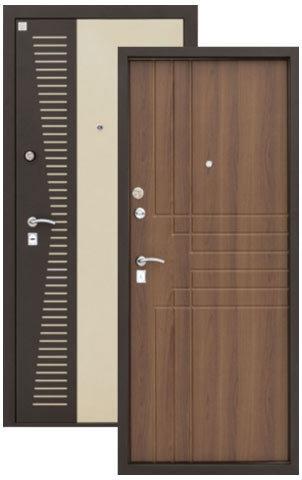 Дверь входная Алмаз Н-7, 2 замка, 1,5 мм  металл, (бежевый металлик+античный дуб)