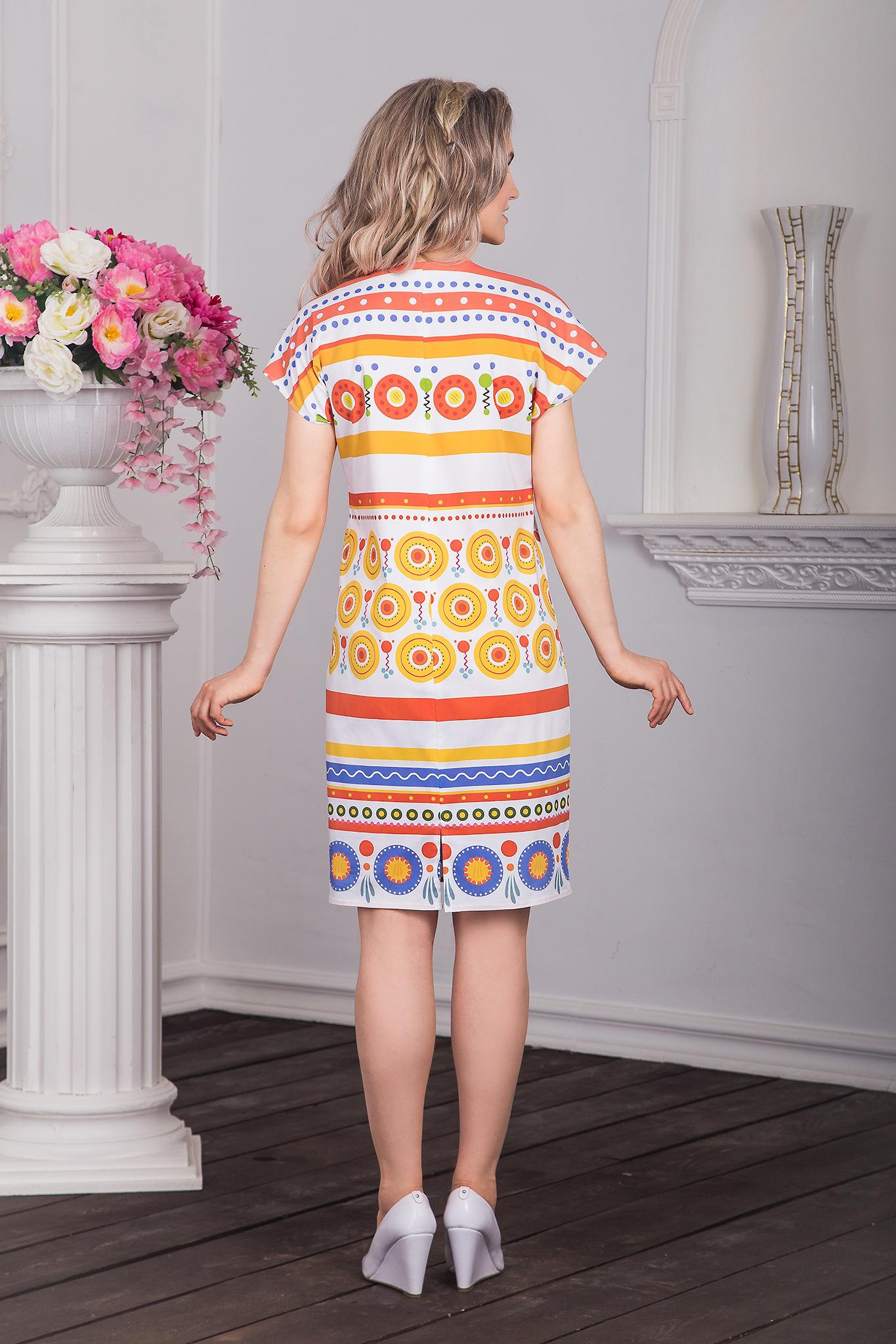 Платье хлопковое Дымковская игрушка вид сзади