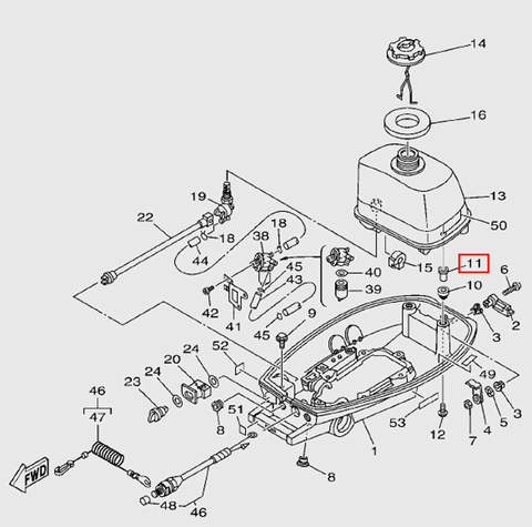 Демпфер топливного бака  для лодочного мотора T5 Sea-PRO (7-11)