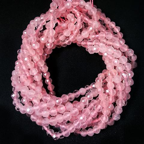 Бусины розовый кварц A граненый 4 мм нить 19,5 см