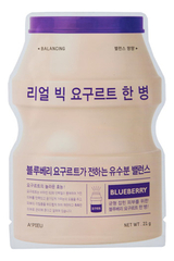 Тканевая маска для лица Real Big Yogurt One Bottle Blueberry 21г (йогурт и черника)