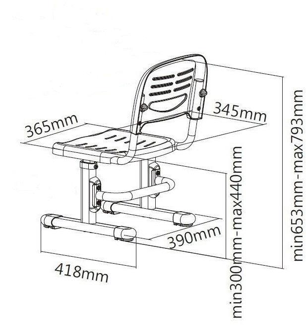 Детское кресло SST3 FUNDESK размеры