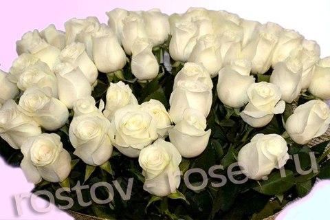 Букет из 51 голландской белой розы, сорт Прауд