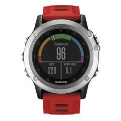 Спортивные смарт часы Garmin Fenix 3 cеребристые с красным ремешком (без датчика) 010-01338-06
