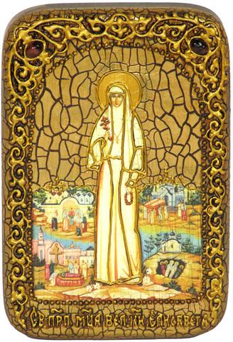 Инкрустированная икона Святая преподобномученица великая княгиня Елисавета 15х10см на натуральном дереве, в подарочной коробке