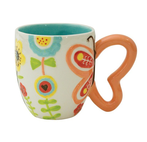 Кружка Boston Warehouse Flower with Butterfly Handle