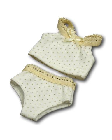 Комплект белья - Кремовый 1. Одежда для кукол, пупсов и мягких игрушек.