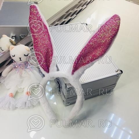 Ободок Плюшевый Зайка с блёстками новогодний карнавальный на голову (Белый-Малиновый)