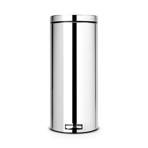 Мусорный бак  (30л), Классический, Стальной полированный с металлическим внутренним ведром, арт. 165122 - фото 1