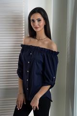Мика. Молодежная оригинальная летняя блуза. Синий
