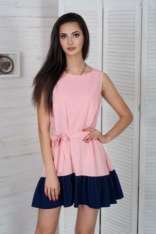 Долли. Молодежное платье с рюшей. Розовый
