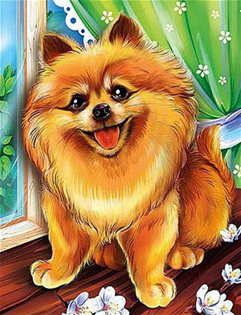 Картина раскраска по номерам 30x40 Улыбающийся щенок ...