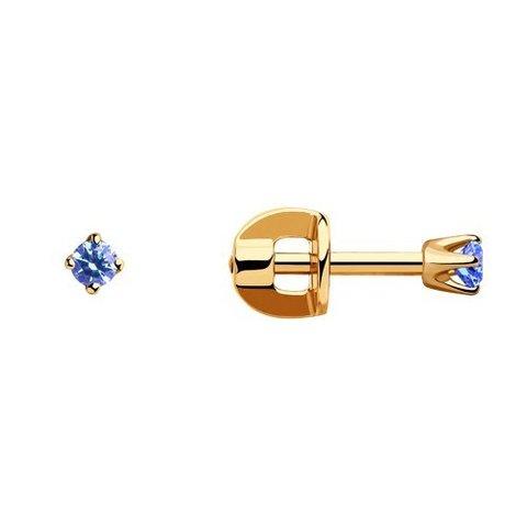 021945 - Серьги-пусеты из золота с голубыми фианитами