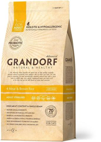 Сухой корм Grandorf Probiotics 4Meat & Brown Rice Adult Sterilised от 1 года