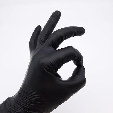 Перчатки одноразовые виниловые, черные, 4,5 г (100 шт/уп)